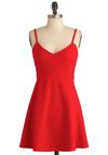 Fun in the Crimson Dress - Short, Red, Solid, Cutout, Exposed zipper, Spaghetti Straps, Party, Urban, A-line, Sheer, Collared