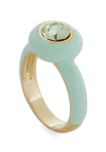 Mint For Me Ring - Green, Solid, Rhinestones, Girls Night Out, Pastel, Cocktail, Mint, Top Rated, Press Placement