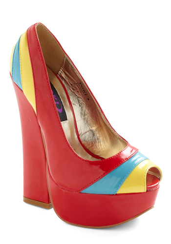 Car Show Stopper Heel - Red, Multi, Yellow, Blue, Party