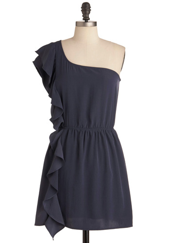 Stream of Thought Dress in Navy - Short, Blue, Solid, Ruffles, Party, Shift, One Shoulder