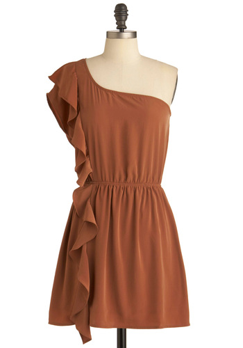 Stream of Thought Dress in Cocoa - Short, Party, Brown, Solid, Ruffles, Shift, One Shoulder