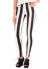 You've Got it Down Pattern Pants by Motel - Casual, Statement, Black, White, Stripes, Urban, Long, Denim