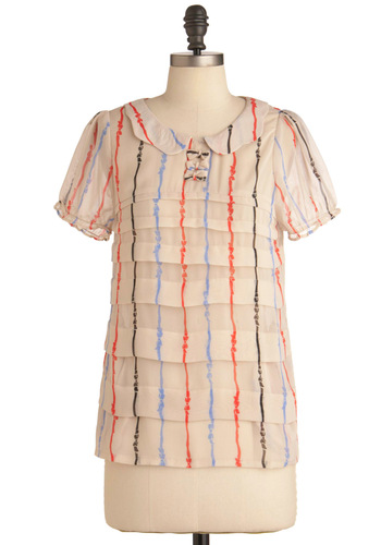 Ribbons, Roads, and Rails Top - Mid-length, Blue, Stripes, Peter Pan Collar, Work, Vintage Inspired, Short Sleeves, Cream, Multi, Orange, Black, Bows, 60s