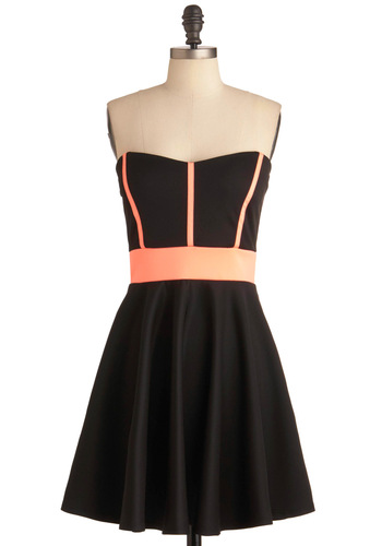 Neon Tour Dress - Black, Pink, Trim, A-line, Strapless, Party, Vintage Inspired, 80s, Mid-length