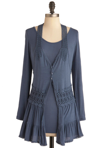 Layers of Lovely Top - Long, Blue, Solid, Buttons, Casual, Boho, Long Sleeve, Crochet