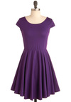 In Good Grape Dress - Short, Purple, Black, Cutout, A-line, Cap Sleeves, Party, Lace, Solid