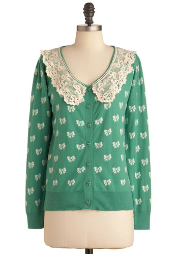 Never Too Many Cardigan - Green, Tan / Cream, Bows, Lace, Casual, Vintage Inspired, 50s, Long Sleeve, Buttons, Mid-length, Knitted, Button Down