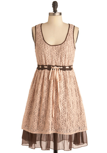 Strawberries and Chocolate Dress - Mid-length, Pink, Lace, Empire, Tank top (2 thick straps), Party, Brown, Tiered, Spring, Pastel
