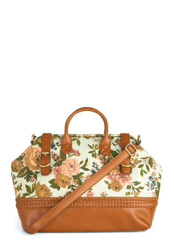 Ticket to the Limit Bag - Multi, Tan / Cream, Floral, Braided, Buckles, Casual, 80s, Green, Pink, Brown, Vintage Inspired