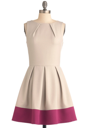 Shoreline Soiree Dress in Khaki - Mid-length, Party, Work, Vintage Inspired, Cream, Pink, Solid, Pleats, A-line, Sleeveless, Fit & Flare, Minimal