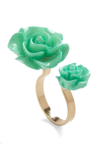 Retro Rosie Ring - Green, Gold, Solid, Flower, Pastel, Daytime Party, Mint, Press Placement, Variation