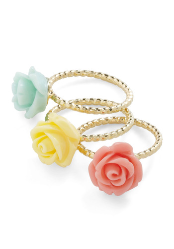Flower in Numbers Ring Set - Gold, Solid, Flower, Casual, Orange, Yellow, Green