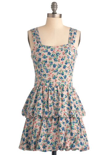 Get Up and Grove Dress - Short, Multi, Green, Blue, Pink, Floral, Tiered, Casual, A-line, Tank top (2 thick straps), Summer, Orange