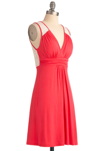 Dinner by the Falls Dress in Papaya - Mid-length, Casual, Pink, White, Solid, Lace, Empire, Tank top (2 thick straps)
