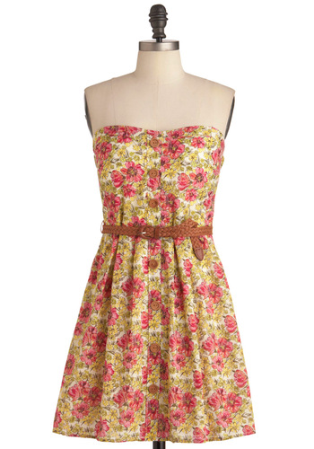 Only Obligation Dress - Multi, Yellow, Green, Pink, Floral, Buttons, Casual, Strapless, Spring, Braided, Sheath / Shift