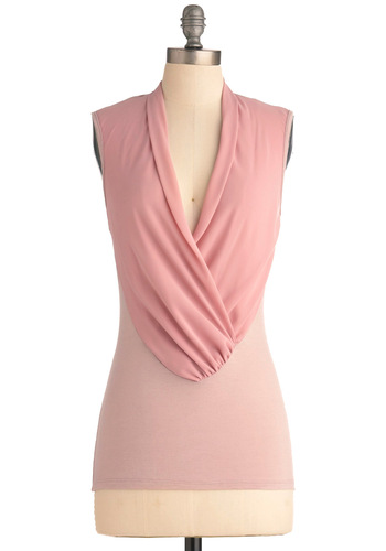 Mauve-ing on Up Top - Pink, Solid, Sleeveless, Work, 80s, Vintage Inspired, Mid-length