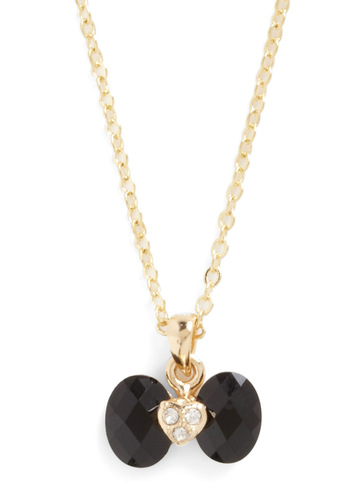 J'Aime Gems Necklace - Black, Gold, Bows, Rhinestones, Solid, Party
