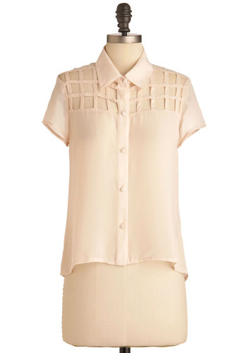 Lattice Begin Top - Short, Cream, Solid, Cutout, Casual, Short Sleeves, Spring