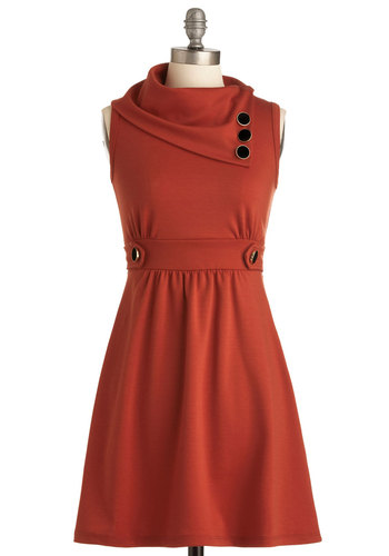 Coach Tour Dress in Tangerine - Orange, Solid, Buttons, Casual, A-line, Sleeveless, Pockets, Short, Holiday Sale, Cowl, Work, Variation, Winter, Basic, Fall, Top Rated