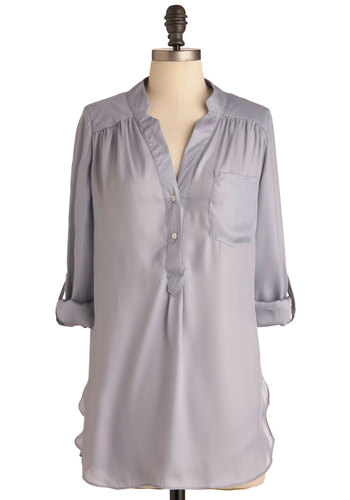 Pam Breeze-ly Tunic in Silver - Long, Grey, Solid, Buttons, Pockets, Work, Casual, Long Sleeve