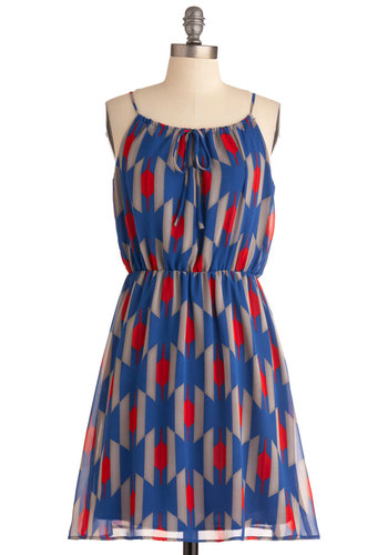 Wait for Your Pattern Dress - Mid-length, Red, Grey, Print, Casual, Spaghetti Straps, Multi, Blue, Sheath / Shift
