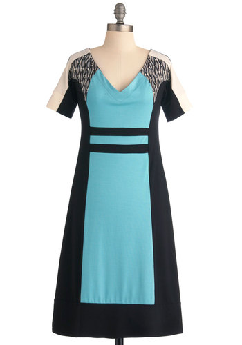 Grand Prix-Fixe Dress by Kelly Lane - Long, Blue, Tan / Cream, Short Sleeves, Black, Casual