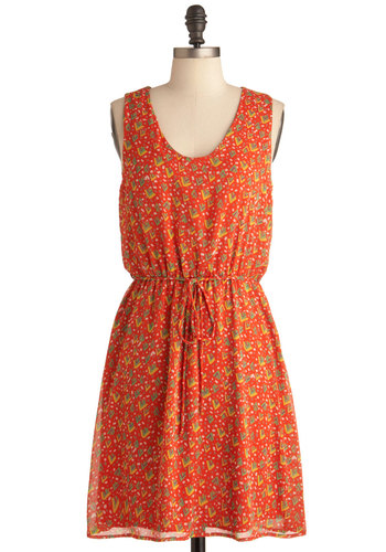 Play and Simple Dress - Mid-length, Orange, Yellow, Green, White, Print, Casual, Sheath / Shift, Tank top (2 thick straps)