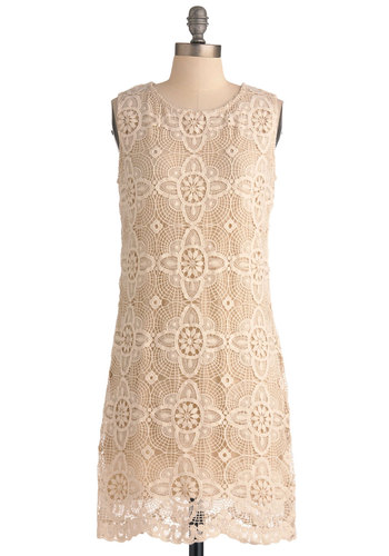 Another Lace and Time Dress - Mid-length, Cream, Lace, Shift, Vintage Inspired, Floral, Scallops, Casual, Sleeveless