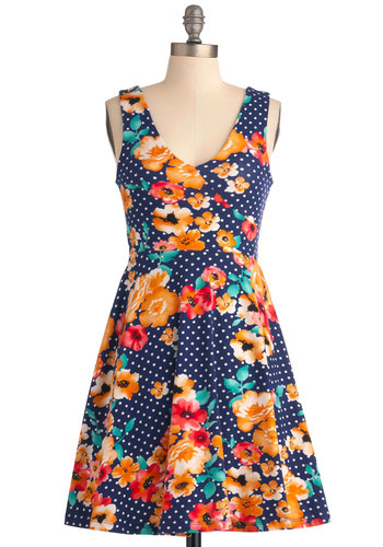 Mix Perfect Dress - Short, Casual, Vintage Inspired, Blue, Orange, Green, White, Floral, A-line, Tank top (2 thick straps), Summer, Multi, Red, Polka Dots, 60s, Jersey, Cotton, Fit & Flare, V Neck