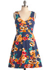 Mix Perfect Dress - Short, Casual, Vintage Inspired, Blue, Orange, Green, White, Floral, A-line, Tank top (2 thick straps), Summer, Multi, Red, Polka Dots, 60s, Jersey, Cotton, Daytime Party, Fit & Flare, V Neck