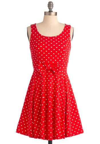 Think Outside the Jukebox Dress - Short, Vintage Inspired, Red, White, Polka Dots, Bows, A-line, Tank top (2 thick straps), Party