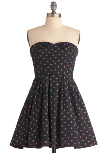 Sophisticated Fun Dress - Short, Blue, Brown, Polka Dots, Vintage Inspired, A-line, Strapless, Wedding, Party, Fit & Flare, Sweetheart