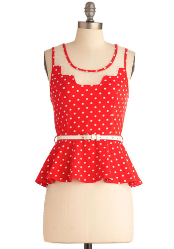 The Spanish Steps Top - Short, Red, White, Polka Dots, Ruffles, Casual, Vintage Inspired, 40s, Tank top (2 thick straps), Belted, Peplum, Sheer