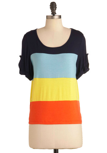 Primary of Your Life Top - Orange, Yellow, Stripes, Buttons, Casual, Short Sleeves, Blue, Black, Mid-length