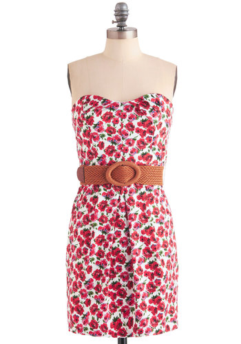 Sidewalk Gardens Dress - Red, Green, Blue, White, Floral, Braided, Pleats, Pockets, Casual, Shift, Strapless, Summer, Mid-length, Belted, Sweetheart