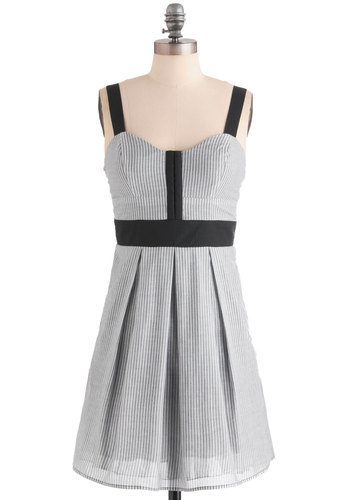 Nottingham Your Average Girl Dress - Black, Grey, White, Stripes, Pleats, Casual, A-line, Tank top (2 thick straps), Grey, Nautical, Summer, Mid-length