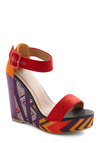 Statement of Purpose Wedge - Orange, Purple, White, Casual, Statement, Multi, Red, Yellow, Print, Summer, Wedge