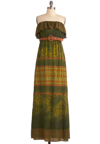 Nassau You Standing There Dress - Long, Green, Orange, Yellow, Print, Ruffles, Casual, Maxi, Strapless, Boho, Summer
