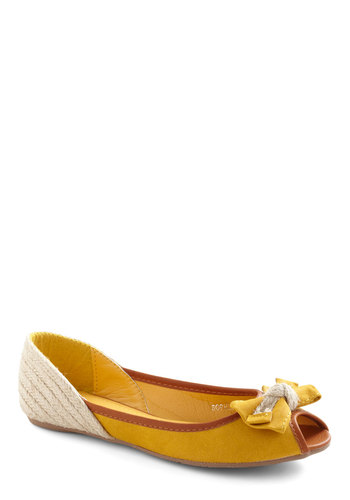 Sand and Sun Flat - Yellow, Tan / Cream, Bows, Woven, Casual, Brown, Solid, Nautical, Summer