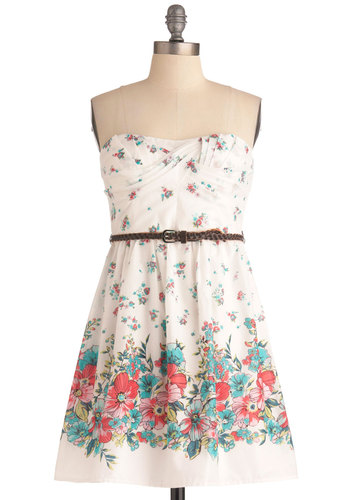 Stick to Your Style Dress - White, Green, Blue, Pink, Floral, Braided, Pleats, Casual, A-line, Strapless, Summer, Multi, Mid-length, Fit & Flare