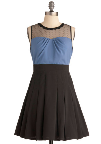 Porch Party Dress - Short, Black, Blue, Pleats, Party, A-line, Scallops, Wedding, Sleeveless