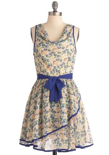 Two for Teatime Dress - Mid-length, Multi, Green, Blue, Floral, Trim, A-line, Yellow, Tan / Cream, Party, Sleeveless, Belted, Cowl