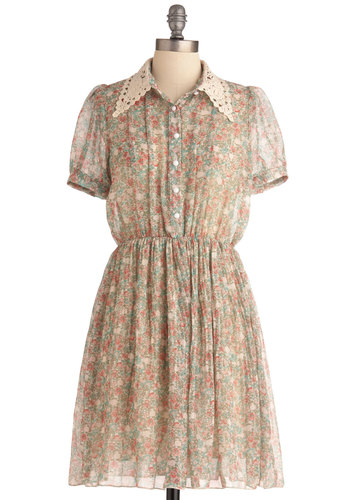 Tea for One Dress - Mid-length, Vintage Inspired, Multi, Green, Pink, Tan / Cream, Floral, Buttons, Pleats, Shirt Dress, Short Sleeves, Spring, Lace, Work