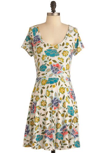 Freshly Pixel-ed Flowers Dress - Mid-length, Multi, Green, Blue, Purple, Pink, White, Floral, Cutout, Casual, A-line, Short Sleeves, Summer, Sheer, Scoop