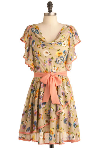 Colored Canvas Dress - Mid-length, Orange, Floral, A-line, Short Sleeves, Spring, Multi, Tan / Cream, Ruffles, Party, Pastel, Belted, Cowl