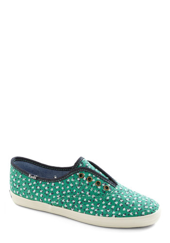 It's Been a Boll Sneaker by Keds - Green, White, Casual, Blue, Print, Flat