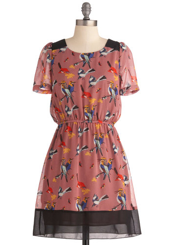 Either Oriole Dress - Short, Red, Blue, Print with Animals, Casual, A-line, Short Sleeves, Multi, Yellow, Pink, Sheer