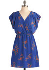 A Frock in the Park Dress - Mid-length, Casual, Blue, Orange, Green, Floral, A-line, Short Sleeves, Epaulets