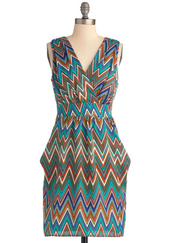 Luxury Accommodations Dress - Mid-length, Multi, Print, Pockets, Multi, Work, Sheath / Shift, Sleeveless