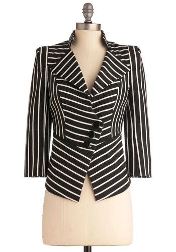 Fashion Panel Blazer - Short, Work, Menswear Inspired, Urban, Black, White, Stripes, Buttons, 3/4 Sleeve, 1.5